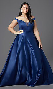 Image of long navy blue plus-size prom dress by PromGirl. Style: SC-PL-PG-2002 Detail Image 2