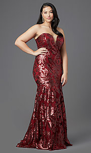 Image of strapless long plus-size prom dress by PromGirl. Style: SC-PL-PG-2003 Front Image