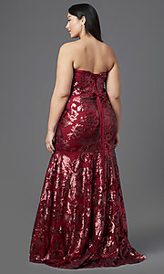 Image of strapless long plus-size prom dress by PromGirl. Style: SC-PL-PG-2003 Back Image