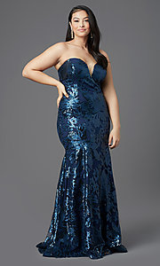 Image of strapless long plus-size prom dress by PromGirl. Style: SC-PL-PG-2003 Detail Image 3