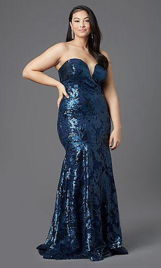 Strapless Long Plus-Size Prom Dress by PromGirl