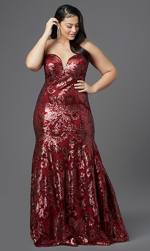 Image of strapless long plus-size prom dress by PromGirl. Style: SC-PL-PG-2003 Detail Image 2