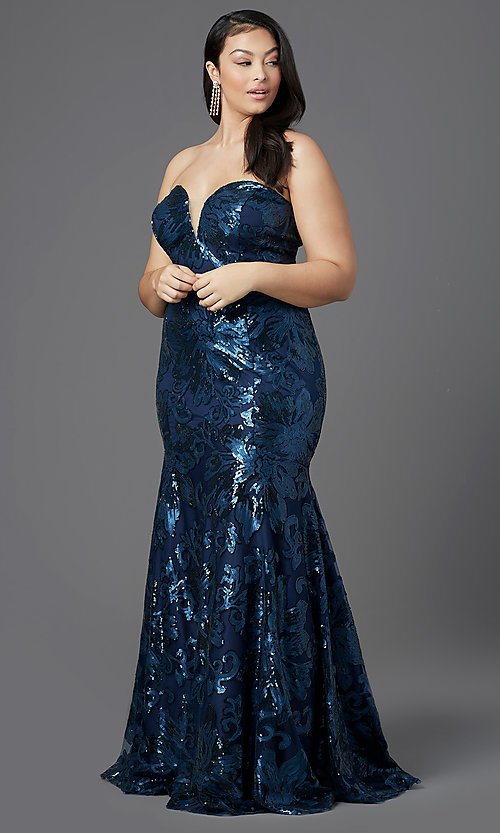 Image of strapless long plus-size prom dress by PromGirl. Style: SC-PL-PG-2003 Detail Image 6