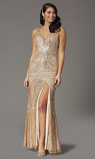 Long Sequin Vintage-Inspired Formal Prom Dress