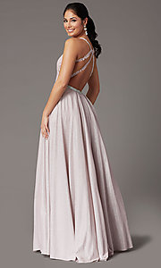 Image of long a-line glitter-knit prom dress with pockets. Style: DQ-2829 Back Image