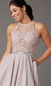 Image of long a-line glitter-knit prom dress with pockets. Style: DQ-2829 Detail Image 1
