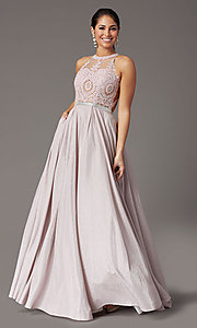 Image of long a-line glitter-knit prom dress with pockets. Style: DQ-2829 Detail Image 2