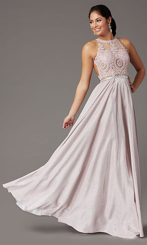 Image of long a-line glitter-knit prom dress with pockets. Style: DQ-2829 Front Image