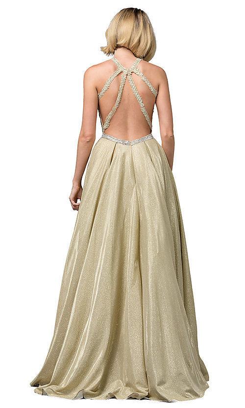 Image of long a-line glitter-knit prom dress with pockets. Style: DQ-2829 Detail Image 4