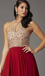 Image of long chiffon formal prom dress with rhinestones. Style: DQ-2838 Detail Image 5