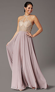Image of long chiffon formal prom dress with rhinestones. Style: DQ-2838 Detail Image 6