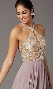 Image of long chiffon formal prom dress with rhinestones. Style: DQ-2838 Detail Image 8