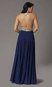 Image of long chiffon formal prom dress with rhinestones. Style: DQ-2838 Back Image