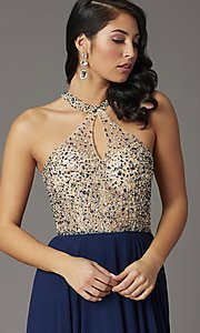 Image of long chiffon formal prom dress with rhinestones. Style: DQ-2838 Detail Image 2