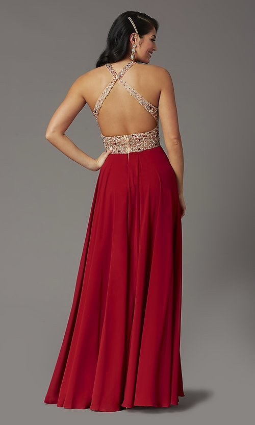 Image of long chiffon formal prom dress with rhinestones. Style: DQ-2838 Detail Image 4