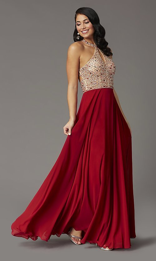 Image of long chiffon formal prom dress with rhinestones. Style: DQ-2838 Detail Image 3