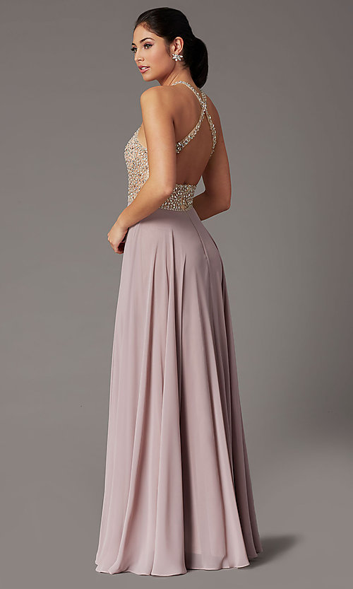 Image of long chiffon formal prom dress with rhinestones. Style: DQ-2838 Detail Image 7