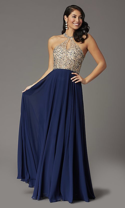 Image of long chiffon formal prom dress with rhinestones. Style: DQ-2838 Detail Image 1