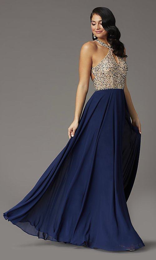 Image of long chiffon formal prom dress with rhinestones. Style: DQ-2838 Front Image