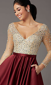 Image of long embellished-bodice prom dress with sleeves. Style: DQ-2840 Detail Image 1