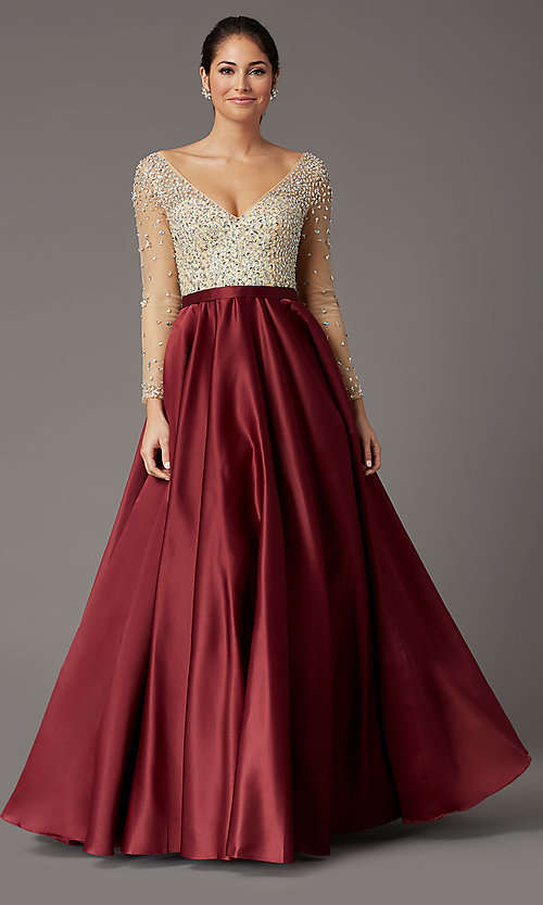 Image of long embellished-bodice prom dress with sleeves. Style: DQ-2840 Front Image