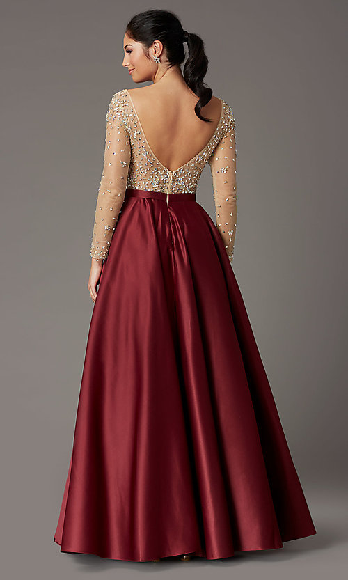 Image of long embellished-bodice prom dress with sleeves. Style: DQ-2840 Back Image