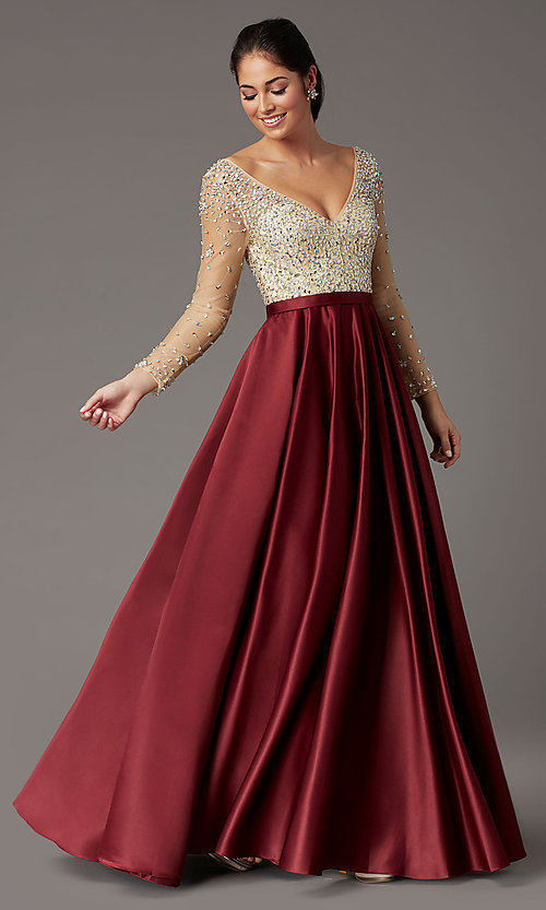 Image of long embellished-bodice prom dress with sleeves. Style: DQ-2840 Detail Image 2