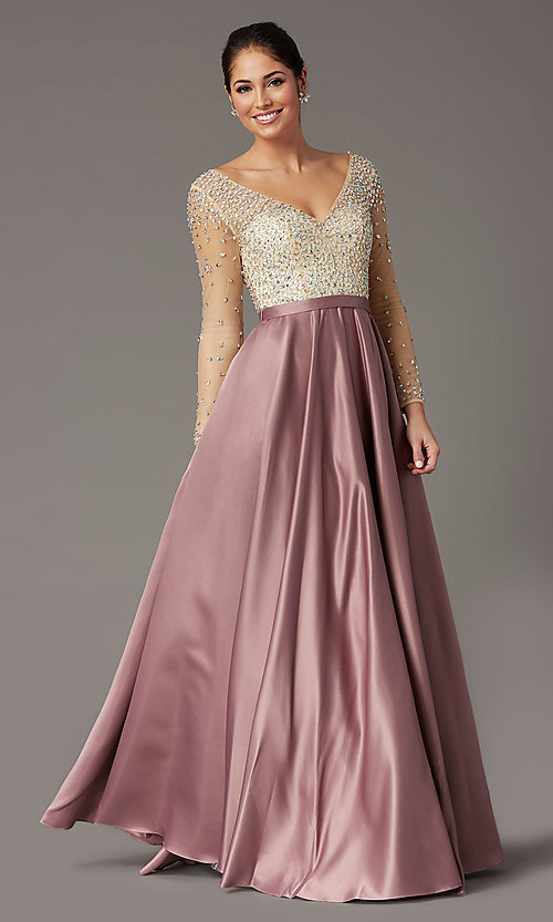 Image of long embellished-bodice prom dress with sleeves. Style: DQ-2840 Detail Image 3