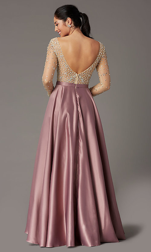 Image of long embellished-bodice prom dress with sleeves. Style: DQ-2840 Detail Image 4