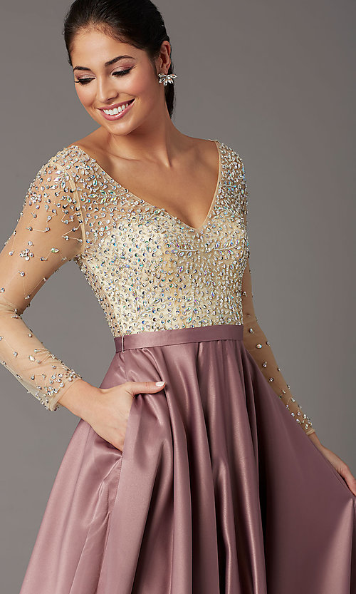 Image of long embellished-bodice prom dress with sleeves. Style: DQ-2840 Detail Image 5