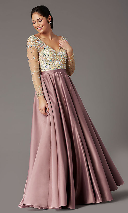 Image of long embellished-bodice prom dress with sleeves. Style: DQ-2840 Detail Image 6