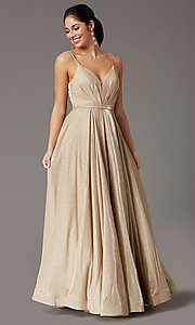 Image of pleated-bodice long glitter-knit formal prom dress. Style: DQ-2867 Detail Image 3