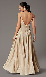 Image of pleated-bodice long glitter-knit formal prom dress. Style: DQ-2867 Detail Image 4