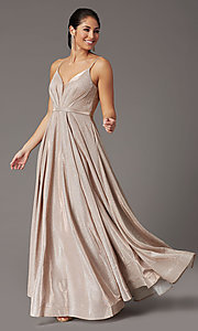 Image of pleated-bodice long glitter-knit formal prom dress. Style: DQ-2867 Detail Image 2