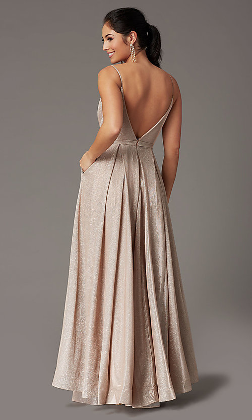 Image of pleated-bodice long glitter-knit formal prom dress. Style: DQ-2867 Back Image