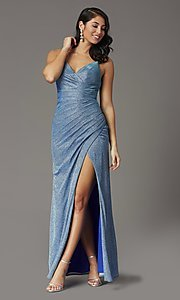 Image of formal long glitter-knit v-neck prom dress. Style: DQ-2875 Detail Image 2