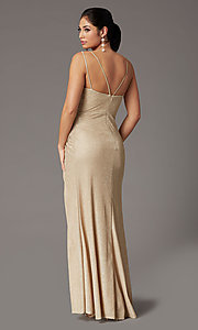 Image of formal long glitter-knit v-neck prom dress. Style: DQ-2875 Detail Image 4