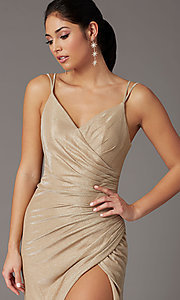 Image of formal long glitter-knit v-neck prom dress. Style: DQ-2875 Detail Image 5