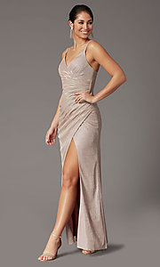 Image of formal long glitter-knit v-neck prom dress. Style: DQ-2875 Detail Image 6