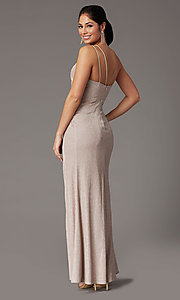 Image of formal long glitter-knit v-neck prom dress. Style: DQ-2875 Detail Image 7