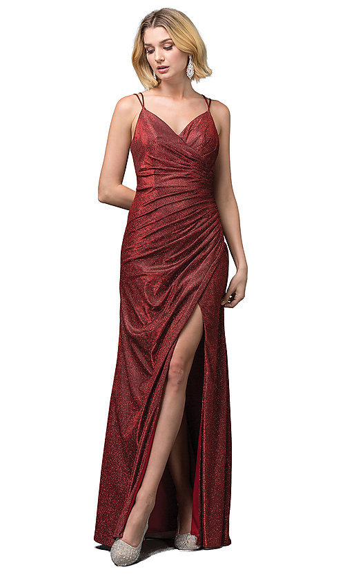 Image of formal long glitter-knit v-neck prom dress. Style: DQ-2875 Front Image