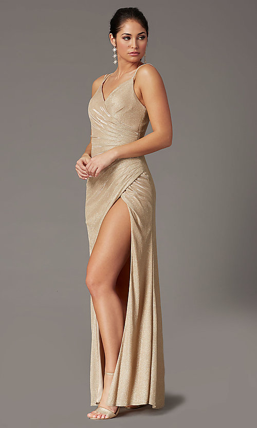 Image of formal long glitter-knit v-neck prom dress. Style: DQ-2875 Detail Image 3