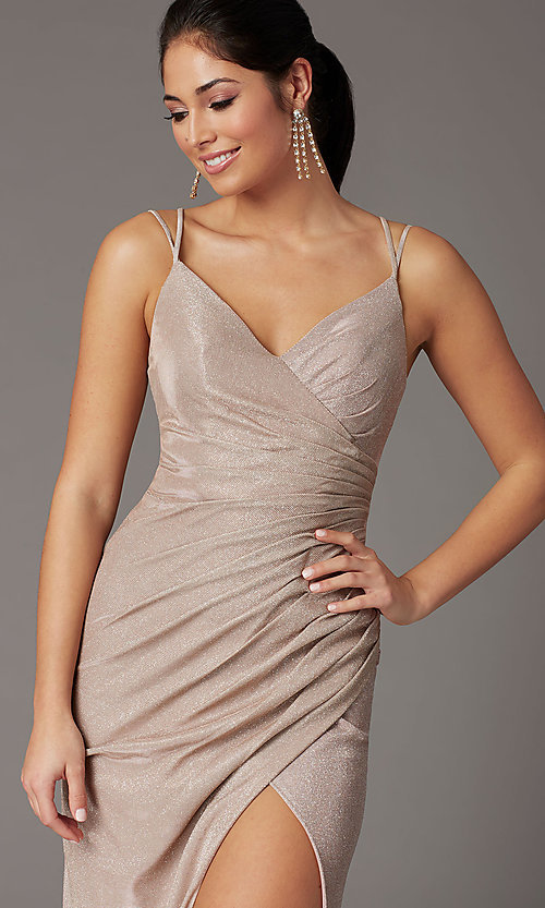 Image of formal long glitter-knit v-neck prom dress. Style: DQ-2875 Detail Image 8