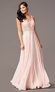 Image of v-neck embroidered-applique-bodice long prom dress. Style: DQ-2890 Detail Image 6