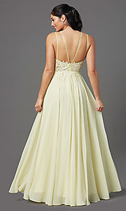 Image of v-neck embroidered-applique-bodice long prom dress. Style: DQ-2890 Detail Image 3