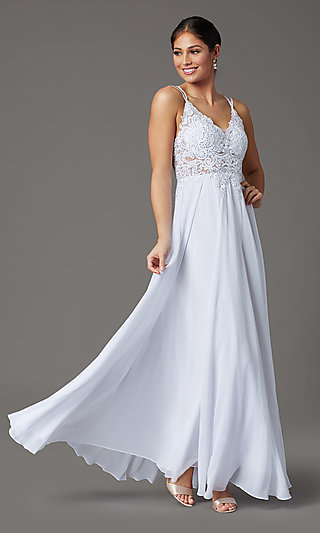 V-Neck Embroidered-Applique-Bodice Long Prom Dress