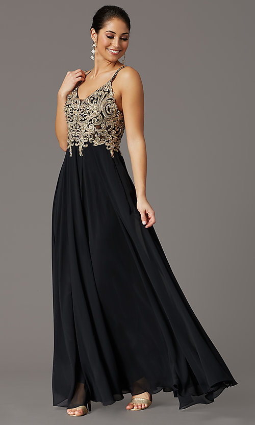 Image of v-neck embroidered-applique-bodice long prom dress. Style: DQ-2890 Detail Image 4