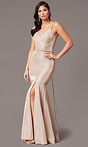 Image of long metallic-knit v-neck prom dress in rose gold. Style: DQ-2895 Front Image