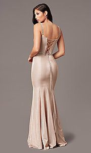 Image of long metallic-knit v-neck prom dress in rose gold. Style: DQ-2895 Back Image