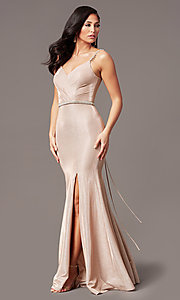 Image of long metallic-knit v-neck prom dress in rose gold. Style: DQ-2895 Detail Image 3